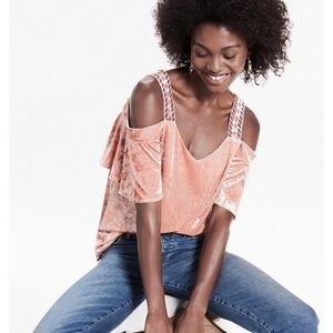 Lucky Brand Velvet Cold Shoulder Blouse